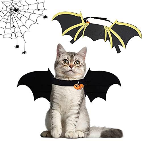 Alas de murciélago para Mascotas, Alas de murciélago para Perros Alas para Mascotas de Halloween con 2 Campana de Calabaza Disfraz de Murciélago para Gatos,para Fiesta de Halloween (2)