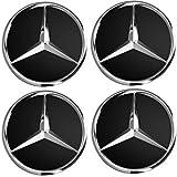 UG® - 4 Tapas para tapacubos de 75 mm con Logotipo de Mercedes – Clase A B C E CLK GL M ML SLK – para Llantas de aleación EOM: A170 400 00 25 Negro