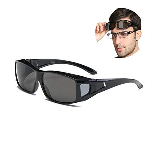 Schimer nachtzichtbril voor het autorijden, anti-glans nachtrijbril, overtrek nachtzichtbril, zonnebril, unisex brildrager voor automobilisten, voor brildragers, getinte gepolariserende glazen C