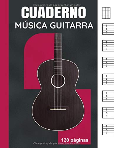 Cuaderno Música Guitarra: Libro de partituras en blanco...