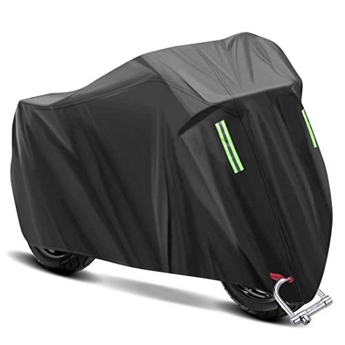 YeenGreen Funda para Moto, Cubierta de Motocicleta Funda Protector 190T Cubierta de Motocicleta Impermeable, con Banda Reflectante, Cubierta Antipolvo / Lluvia / UV para Motocicleta