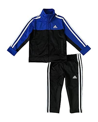 adidas Boys' Tricot Jacket & Pant Clothing Set (Bright Blue/Black, 5)
