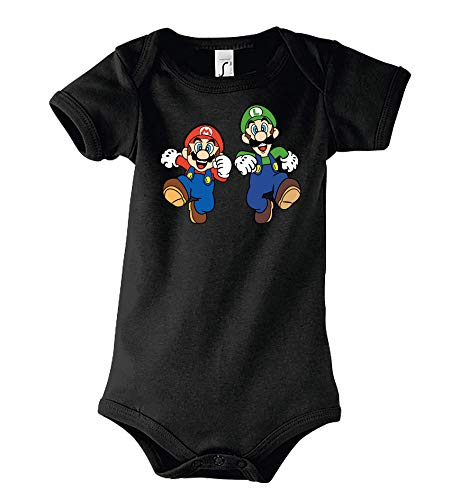 TRVPPY Baby Kurzarm Body Strampler Modell Mario & Luigi, Gr. 3-6 Monate, Schwarz
