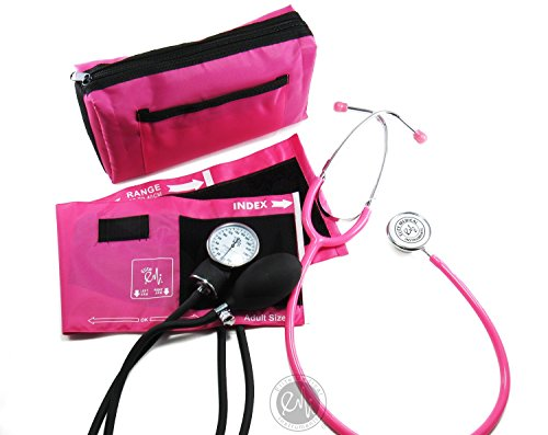 EMI #305 Pink Aneroid Sphygmomanometer Manual Blood Pressure Monitor with Adult Cuff and Dual Head Stethoscope Set Kit