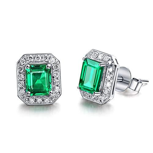 Daesar Pendientes Oro Blanco 18 Kilates Mujer Rectángulo Diamante Esmeralda Verde Blanca 1.27ct