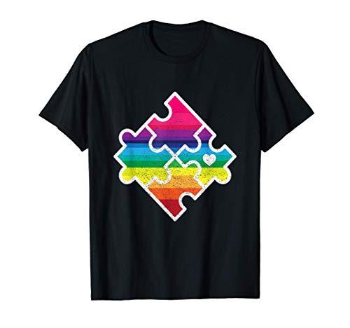 Puzzle Regenbogen I Rätsel Puzzlen Teile Hobby Spiel Rätsel T-Shirt