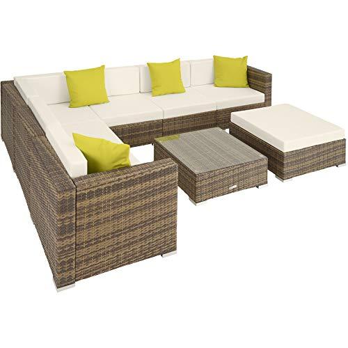 TecTake 800892 Aluminium Polyrattan Lounge Set, Sitzgruppe mit Tisch mit Glasplatte, für Garten und Terrasse, inkl. Kissen und Klemmen (Natur   Nr. 403755)