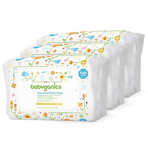 Babyganics Baby Wipes, Unscented, 100 ct, 3 Pack, Packaging May Vary