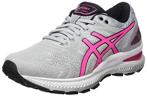 ASICS Damen Gel-Nimbus 22 Running Shoe, Piedmont Grey/Hot Pink, 42.5 EU