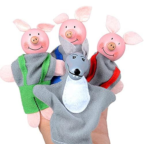 GSDJU 4 Uds Dedo Tres cerditos y Lobo Mini Juguete de Felpa para bebé niños Marionetas de Dedo Historia educativa marioneta de Mano muñeca de Tela Juguetes