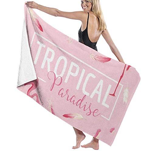 Microfibre Beach Towel Large Tropical - 130x80cm Lightweight & Dry Microfibre Towel - Perfect as Beach Towel & Travel Towel