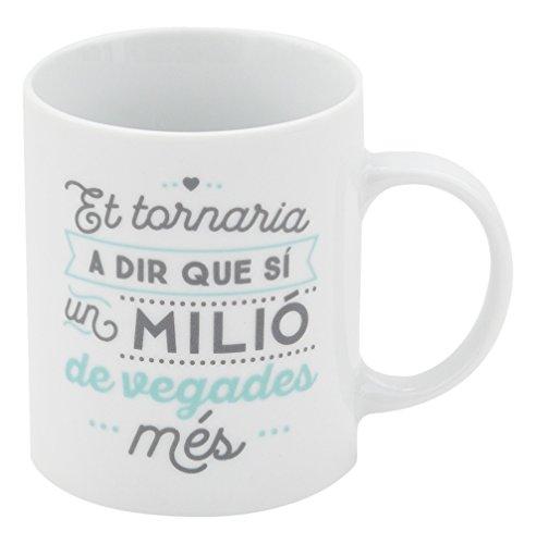 Mr. Wonderful Taza Te volvería a Decir Que sí un millón de Veces más con Contenido en Catalán, Porcelana, Blanco, 7 cm