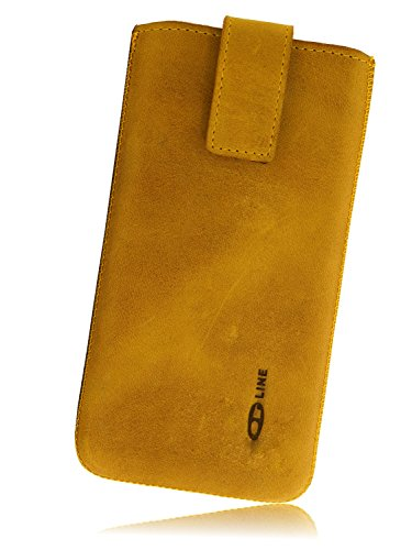 OrLine Handytasche passend für BlackBerry Q10. Elegant Ledertasche Tasche Echtleder Leder-Hülle (Lasche mit Rückzugfunktion Ausziehhilfe Klettverschluss befestigt) Schutzhülle Hülle