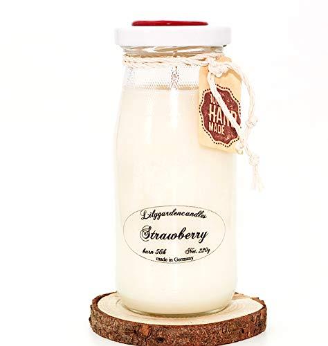 Lilygardencandles aardbei soja was kaars in melk fles geurende kaars brandtijd 56 uur 220 g soja was