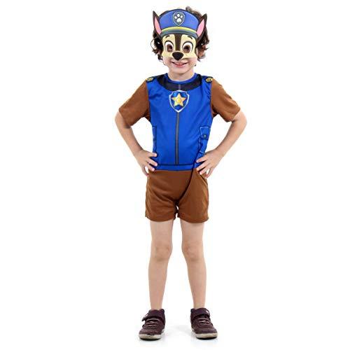 Fantasia Chase Patrulha Canina Curto Infantil 915261-M, Azul/Marrom, Sulamericana Fantasias