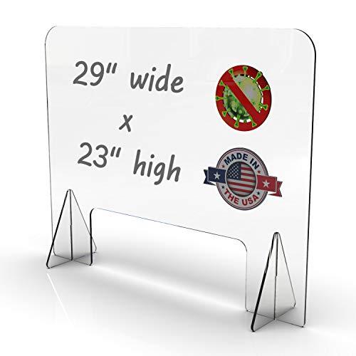 FryOilSaver Co, 23' High x 29' Wide Sneeze Guard, Sturdy Plexiglass Shield Premium 1/4 Inch Thick Sneeze Guard, Clear Sneeze Guard for Counter, Extra Sturdy Plexiglass Shield,
