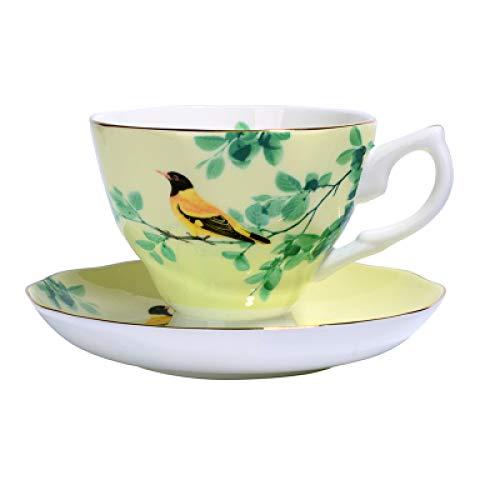 GFHTH 180Ml.Tazas De Porcelana Artesanal para Té, Tazas De Porcelana Antigua, Pintura Vintage De Pájaros, Juego De Tazas De Café De Cerámica Juego De Café De Taza De Ceremonia De Té Justo