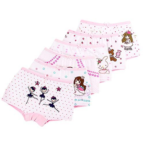 Zhongke fille sous-vêtements bébé fille adolescente pur coton motif enfant mignon pantalon sous-vêtements doux noeud papillon pantalon pour les filles (paquet de 6)
