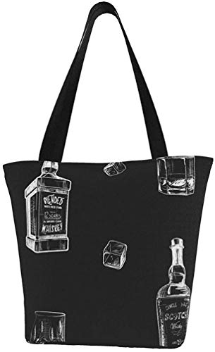 Ingredients For The Best Whiskey Taste. Bottles, Classes And Ice Cubes. Seamless Tote Bag Extra Large waterproof Canvas Grocery Bags Reusable Portable Storage Handbags