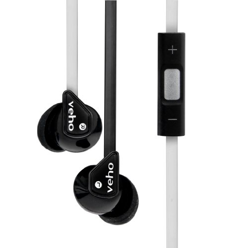 Veho VEP-004-Z2BW - Auriculares in-ear (control remoto integrado), negro y blanco