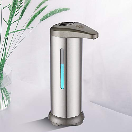 Soap Dispenser with Stainless Steel, IPX4 Waterproof Rating, Touchless Battery Operated Electric Large Capacity Automatic Soap Dispenser with Infrared Motion Sensor,Silver1