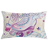 Concealed Zipper, Excellent Color Pillowcase Inside and Outside, Simple and Stylish Sofa Pillow Car Cushion Skate Girly Beautiful High Detailed Rollers in Pink Pastel Colors Sport Girls and Baby