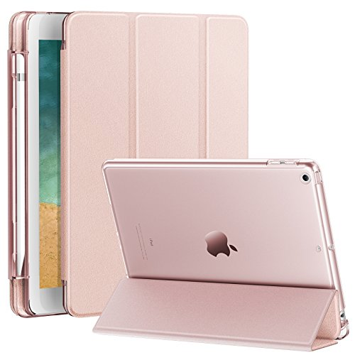 INFILAND Compatible with iPad 9.7 2018 Case with Pencil Holder, Stand Case with Translucent Frosted Back Smart Cover Fit iPad 9.7inch (6th Gen) 2018 Release, Rose-Gold