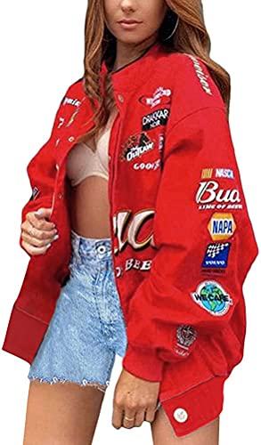 ORANDESIGNE Chaqueta de Bombardero para Mujer Chaqueta de Chándal College Cremallera Oversized Patchwork Chaquetas de Impresión Vintage Abrigo de Béisbol Sweat Jacket
