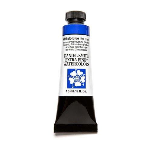 DANIEL SMITH, Phthalo Blue Red Shade Extra Fine Watercolor 15ml Paint Tube, 5 Fl Oz