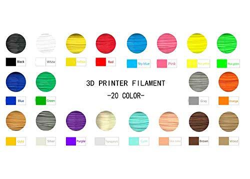JIAWDYS Fil D'Imprimante 3D, Matériau pour Stylo À Bulles d'impression sans Impureté De 1,75 Mm, Abs (20 Couleurs)