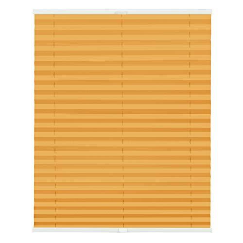 Lichtblick PKM.120.130.10010 Plissee Klemmfix, ohne Bohren, verspannt, Blickdicht - Orange 120 cm x 130 cm (B x L)