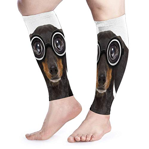 FLDONG Manga de compresión para pantorrilla para mujer, tonto, empollón, perro salchicha salchicha en gafas divertidas, calcetines de compresión sin pies