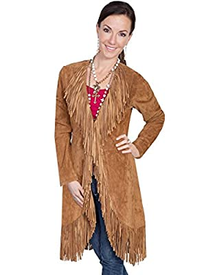 Scully Women's Boar Suede Fringed Maxi Coat Cinnamon XX-Large