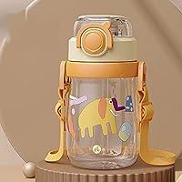 ストロー水筒 クリアボトル 子供用 キッズ ストラップ付き 400ml 可愛い 柄 目盛り ワンタッチ ウォーターボトル 携帯ポット 水分補給 マグボトル tritan素材 ピンク グリーン イエロー ネイビー