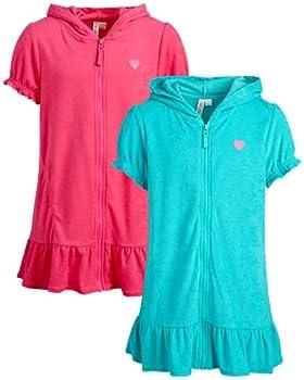 Pink Platinum Girls' Swim Cover-Up Dress – UPF 50+ Hooded Zip Up Terry Beach Robe  2 Pack  Pink/Seafoam 3T