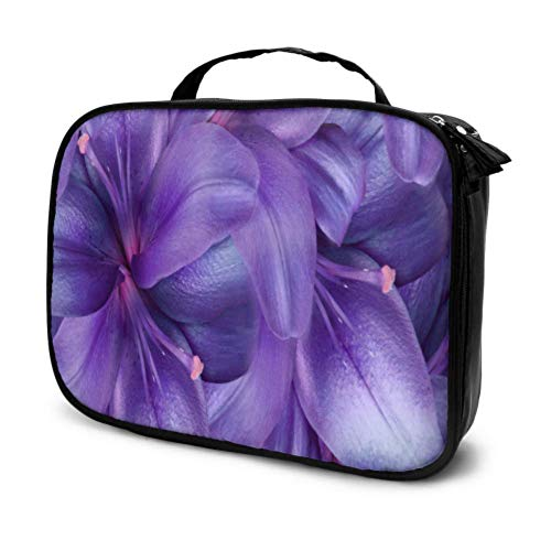 Purple Lily Flowers Bright Lavender Floral Travel Cosmetic Bag for Kids Make Up Bag Toiletries Bag for Kids Multifunction Printed Pouch for Women