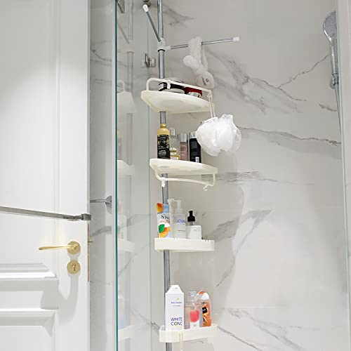 Corner Shower Organizer Tension Pole 10Ft Stainless Steel Rust Proof, 4 Tier Bathroom Shelf, Adjustable Shower Caddy for Bathtub, White