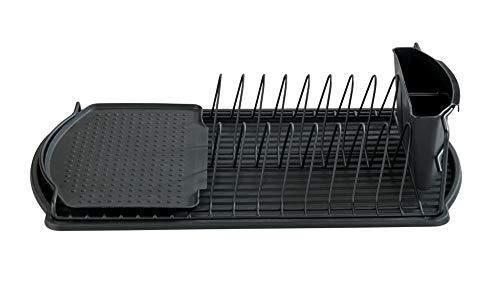 WENKO Geschirrabtropfer Basic, Abtropfgestell für Geschirr, ideal zum Abstellen neben der Spüle, aus pulverbeschichtetem Metall und Kunststoff, 47,5 x 11 x 26,5 cm, Schwarz