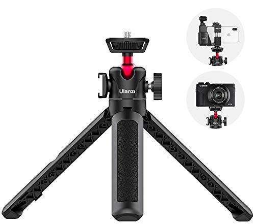 MT-16 Mini trípode para teléfono móvil y cámara, 4 secciones, 44 cm de longitud, con cabezal de bola panorámica y rosca de 1/4' para cámaras réflex digitales iPhone, Samsung y Sony, Canon, Nikon, etc.