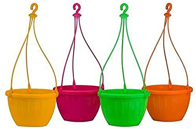 GENERIC Plastic Hanging Pot Yellow Pack of 2