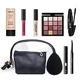 Leeofty Juego de maquillaje profesional Mascara BB Cream Corrector Brillo de labios Sombra de ojos Kit de lápiz de cejas Kit de maquillaje de base 9pcs
