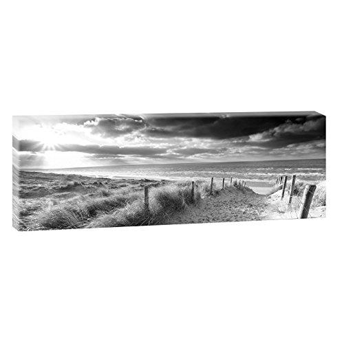 Querfarben Bild auf Leinwand mit Landschaftsmotiv Weg ans Meer | 120 x 40 cm, SW, Wandbild, Leinwandbild mit Kunstdruck, Nordseebild mit Strandmotiv auf Holzrahmen gespannt, 40x120 cm