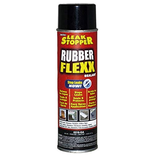 Leak Stopper Rubber Flexx Leak Repair & Sealant Spray 18 Oz | Just Point & Spray for Making basic repairs on wood, asphalt roofing, metal and masonry surfaces | 100 % Flexible Seal | Black | - 0316-GA