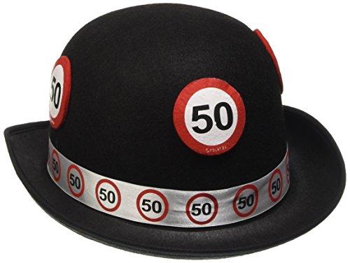 Cappello a bombetta nero con segnale stradale 50 anni