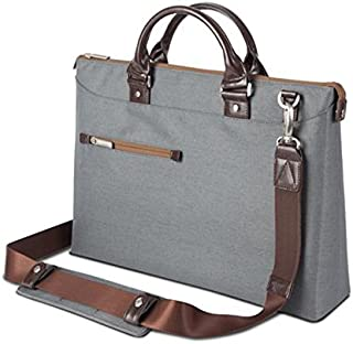 Moshi Urbana Briefcase – Slim Laptop Case with Shoulder Strap - Mineral Gray
