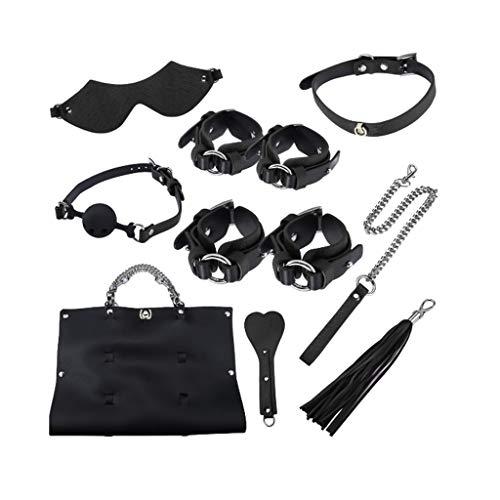 CSH 8 stuks Leather Bon'dage Inrichting for Vrouwen Mannen Passionate Moments Role-play speelgoed met Storage Bag Handtassen Training Prop Sunglasses (Color : Black)