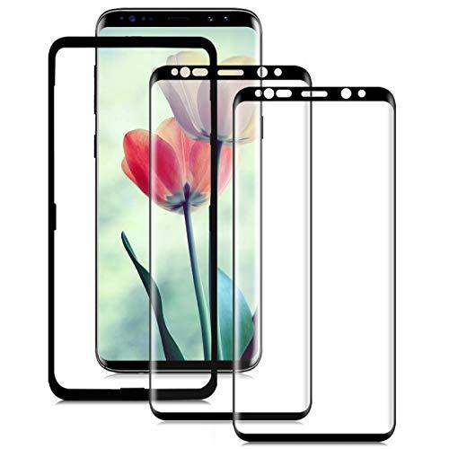 WANYBO Protector de pantalla S9 Plus (2 unidades), vidrio templado S9 Plus con marco de fácil instalación, 3D Curva Cobertura de pantalla completa, dureza 9H para Samsung Galaxy S9 Plus S9+
