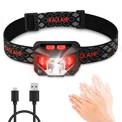 Stirnlampe LED, Stirnlampen Aufladbar USB Kopflampe 5 Modus, Led-stirnlampe Laufen Wasserresistent 150LM 1200mAH für Nachtlese Camping Joggen Angeln Abenteuer Bergsteigen Fahrrad, inklusive USB Kabel