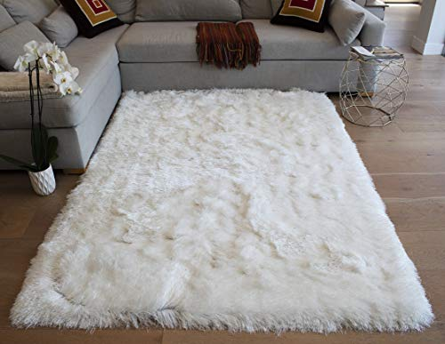 LA Shag Shaggy Fluffy Large Furry Rectangular Solid Patterned Plush Fur Large Fuzzy Floor Soft Plain Modern Pile 8-Feet-by-10-Feet Polyester Made Area Rug Carpet Rug White Color