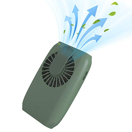 Portable Mini Fan Rechargeable 3-Level Speed Personal Cooling Fan with Adjustable Lanyard 4in-1 Desktop Bracket Waistband Wrist Clip for Office Travel Riding Running Hiking (Green)